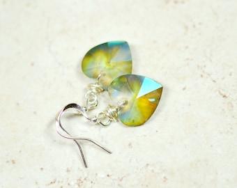 Sage Green Heart Earrings, Hemlock Green Heart Crystal Dangles, Mystic Finish Simple Drops, Silver and Green