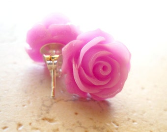 Lilac Purple Rose Earrings / Radiant Orchic Stud Earrings / Retro Jewelry / Cottage Chic Vintage Style Jewelry - The Rosie