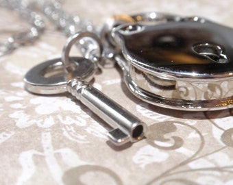 Silver key and lock Statement Necklace Vintage style real working padlock w key on matching Stainless steel chain.working lock