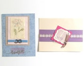 2 Handmade Thanks and Love Card Fronts for ReUse, Scrapbooking