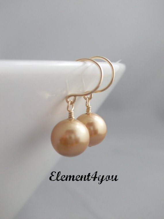 Pearl earrings, Classic style, Single pearl drop, 14K gold filled Jewelry, Short dangle, Swarovski pearls, Bridesmaid earrings, Wedding gift