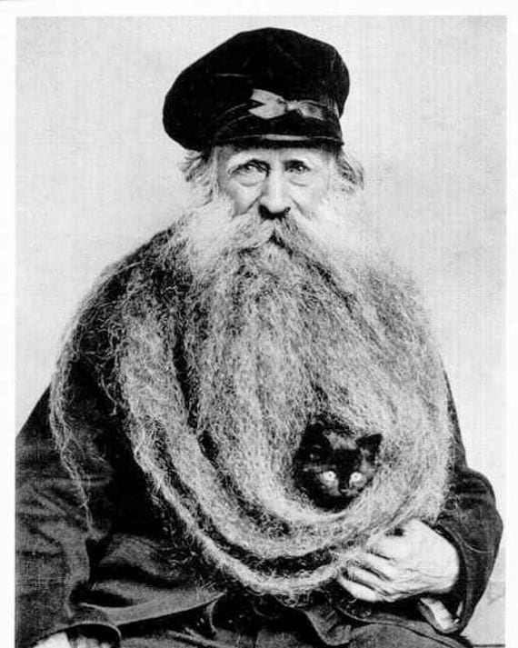 Cat in his beard bearded man with kitten old man unusual long for Odd victorian names