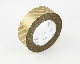 MT 2012 - Japanese Washi Masking Tape / Gold Stripes for scrapbooking, packaging, party deco, card making