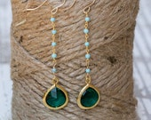 Emerald Green Teardrop+Beaded Turquoise Chain Earrings  Long Dangle Earrings Wedding Jewelry Something Blue Wedding Jewelry Bridesmaid Gift