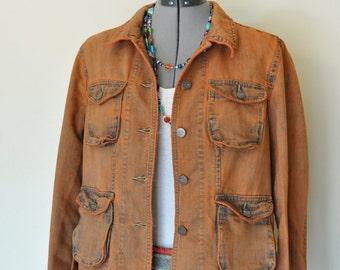 Orange Medium Denim JACKET - Rust Orange Hand Dyed Upcycled Mossimo Denim Safari Jacket - Adult Womens Medium (42 chest)