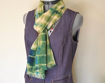 """Green Dyed Cotton SCARF - Blue Green Tan Hand Dyed Tie Dye Hand Made Shibori Cotton Skinny Scarf #70 - 8 x 74"""""""