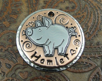 Piggy Personalized Tag,Custom ID Dog Tag,Pig ID Tag-Dog Collar ID Tag