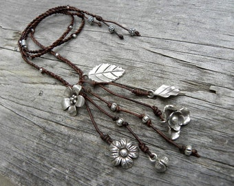 Sterling Silver  Macrame Chocolate Leather Flower Charm Long Necklace Adjustable