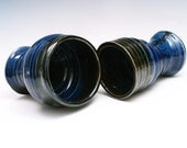 His and Hers Pottery Wine Cup Goblet Set of 2 in Cobalt Blue and Black