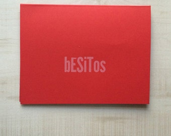 Red Besitos / Red Kisses Greeting Card, Spanish Card, Blank Note Card, Spanish Language, Funny Birthday Card, Pun Card