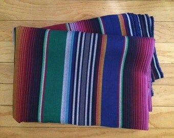 Serape Blue Tone Mexican Fabric Sarape Tribal Ethnic Yard Colorful