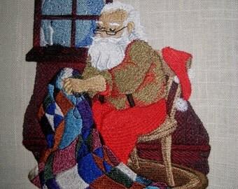 Quilting Santa Embroidered Quilt Block