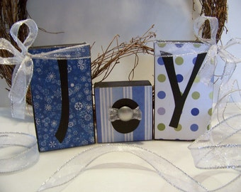 JOY Decorative Wooden Block Set Handmade Christmas Home Decor