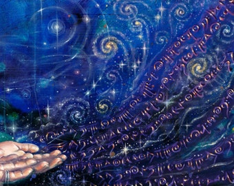 "Cosmic Whispers"" print of visionary goddess art by Emily Kell"
