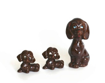Vintage Redware Brown Glaze Hound Dog Mother And Puppies Figurines Japan