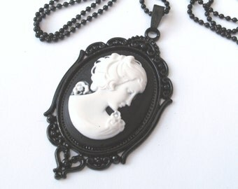 Classical Lady Cameo Necklace, Black and White, Long Necklace, Victorian Cameo