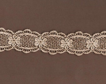Hand Dyed Venise Lace Dainty Floral Daisies  Vintage Tea Stain