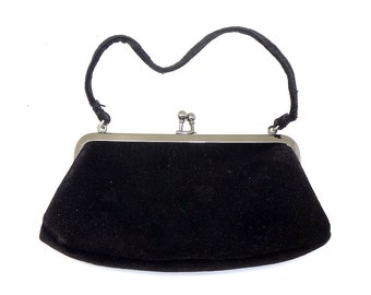 Vintage Black Suede Purse - Free Shipping