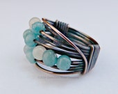Amazonite Abacus Wire Wrapped Copper Ring Wire Wrapped Rings Wire Wrapped Jewelry Gemstone Ring Unique Ring Boho Jewelry Signature Design