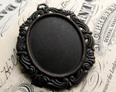 Victorian Mourning 40x30mm oval pendant tray, oxidized brass frame setting, dark aged black patina, cabochon base, 30x40mm 30mm 40x30