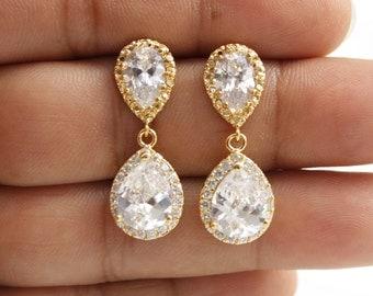 Wedding Earrings Gold Bridal Jewelry Clear Cubic Zirconia Teardrop Gold Crystal Bridal Earrings, Emma