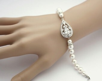 Bridal Bracelet Crystal Pearl Wedding Jewelry White OR Cream Cubic Zirconia Bridal Jewelry Pearl Wedding Bracelet, Esther