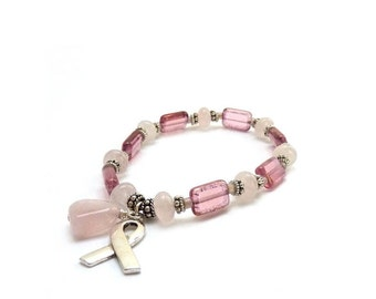 Pink Breast Cancer Awareness Bracelet - Rose Quartz Stones - Picasso Glass - Survivor Silver Ribbon - Charity Donation