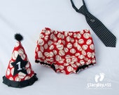 Red All-Star Baseball 3 PIECE SET Party Hat - Diaper Cover - Necktie for First Birthday Cake Smash - Design by StacyBayless Baby - Boys