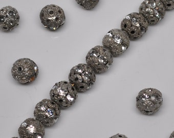 8mm Vintage Silver Patina Rhinestone Filigree Beads 8 or 20 Pieces
