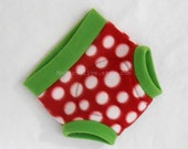 Large Fleece Soaker Seedy Strawberry Diaper Underpants Nappy Cover, Red Green White Polka Dot, Ready to Ship Christmas