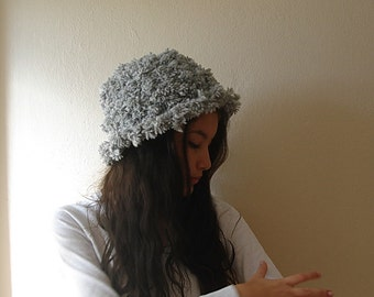 Knit Brimmed Hat Grey Knitting Women's Cloche knit hat Adult Size Handmade Winter Accessories