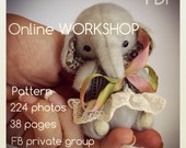 Online step-by-step Tutorials, soft toy PDF Pattern, downloaded artist elephant workshop,  how to make a soft toy, easy to follow tutorials