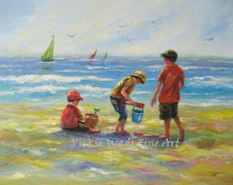 Three Beach Boys II Art Print, beach paintings, three boys, beach, three brothers, beach children, Vickie Wade art
