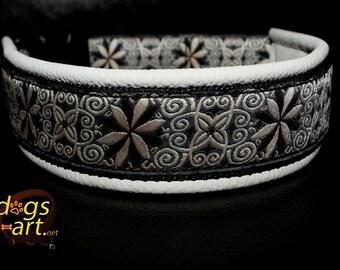 Handmade Easy Release Buckle Leather Dog Collar PINWHEEL ZINNIA by dogs-art in creme/black/zinnia black