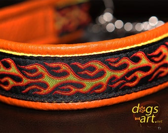 """Leather Dog Collar """"Flames"""" by dogs-art, martingale collar, chain dog collar, flames, orange dog collar, boy dog collar, dog collar leather"""