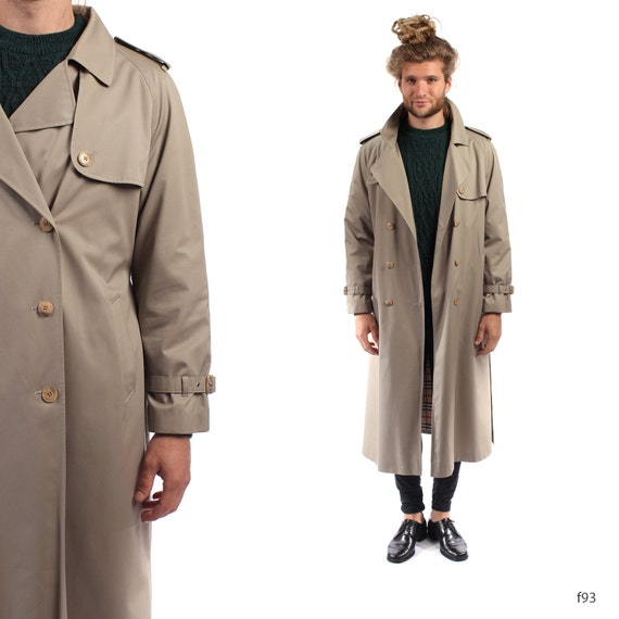 mens trench coat vintage 80s double breasted beige brown mac. Black Bedroom Furniture Sets. Home Design Ideas