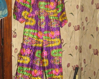 1960's Quilted  psychedelic   hippie flowers  Lounge Jumpsuit -  Ultimate - Loungewear - Hostess Gown  - Palazzo Pants new condition
