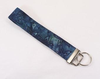 Dark Blue batik print fabric key fob or camera strap