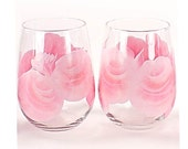 Hand Painted Beverage Glasses, Stemless Wine Glasses with Soft Pink Roses, Set of 4 - Housewarming Gift Carnation Pink Baby Pink