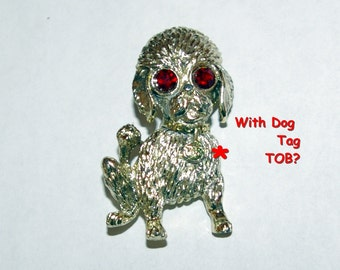 Vintage Dog Brooch with Name Tag TOB  Stamped Gerry's  Large Red Eyes  Vintage 1970's