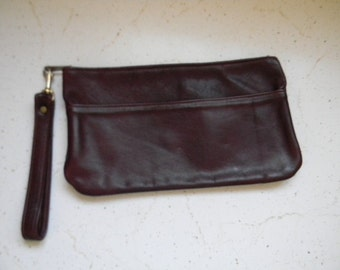 vintage. 70s Deep Red Burgundy Leather Clutch with Wrist Handle