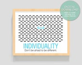 "Digital Download ""Individuality"" (Moustache) - 8x10 inches (20.32 x 25.4 cm) - PRINTABLE Art- ART PRINT - Wall Art"