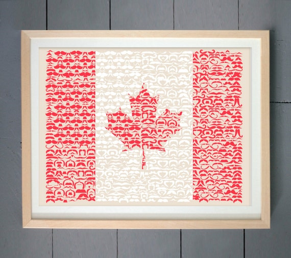 Mustache canada flag wall art print canada flag by for Home decor online canada