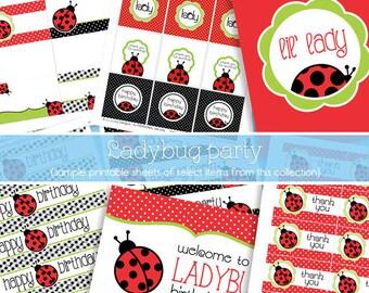 Red Ladybug Birthday Party Decorations - Ladybug Party Pack - Ladybug DIY Party Decor - PRiNTABLE, INSTANT DOWNLOAD