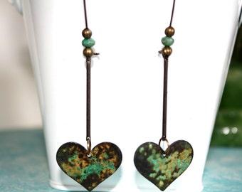 Heart Dangle Earrings, Boho Jewelry, Rustic Earrings, Patina Earrings,