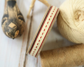CREAM thin stitched fabric woven cotton blend ribbon
