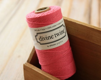 Solid Deep PINK Divine Twine 240yds SPOOL 4-ply cotton bakers twine string