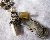 RESERVED for cahallv - Emily - seaglass and vintage image eclectic necklace