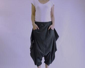 Funky Harem Boho Capric Drop Crotch Dark Charcoal Grey Cotton Jersey Pants With Zipped Flap Side And Elastic Waist