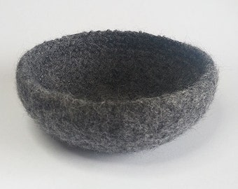 Wool Felt Bowl, Hand Felted Crochet Wool Bowl in Charcoal Grey, Handmade Bowl